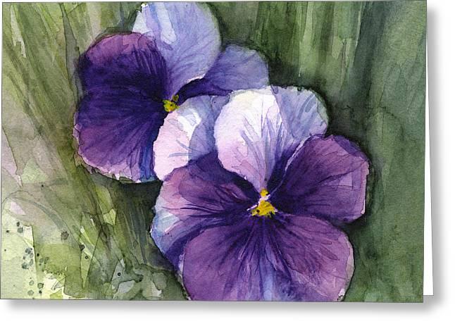 Purple Pansies Watercolor Greeting Card