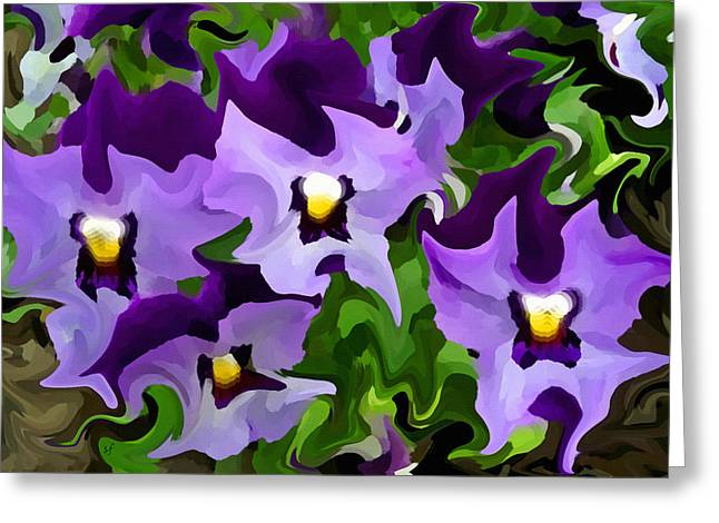 Greeting Card featuring the digital art Purple Pansy Abstract by Shelli Fitzpatrick