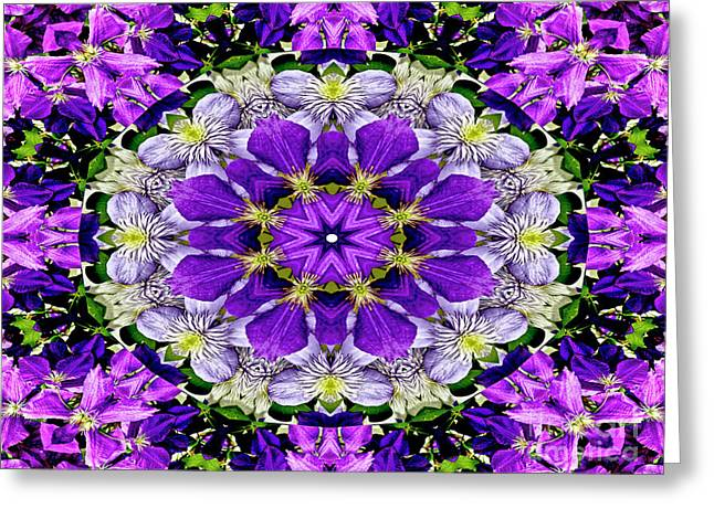 Purple Passion Floral Design Greeting Card