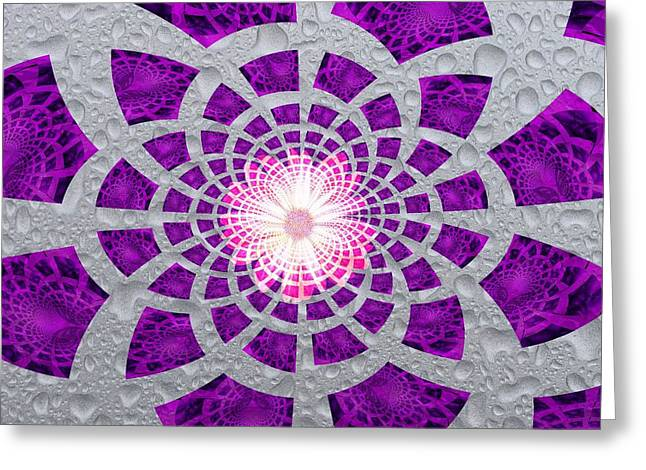 Greeting Card featuring the digital art Purple Patched by Amanda Eberly-Kudamik
