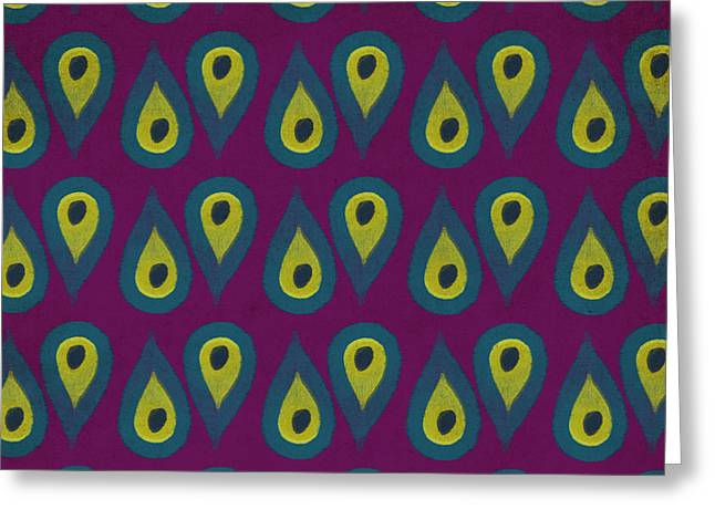 Patterned Greeting Cards - Purple Peackock Print  Greeting Card by Linda Woods