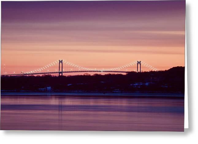 Purple Pell Bridge Panorama Greeting Card