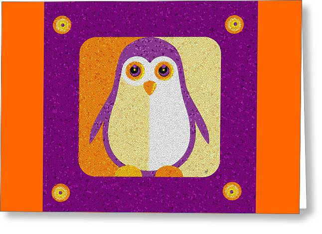 Greeting Card featuring the digital art Purple Penguin In A Box Mosaic  by Shelli Fitzpatrick