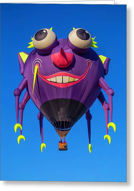 Purple People Eater Floating Greeting Card by Garry Gay