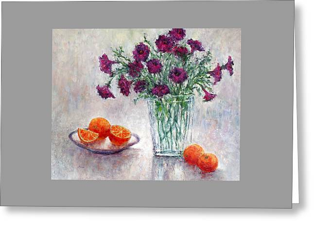 Purple Petunias And Oranges Greeting Card by Jill Musser