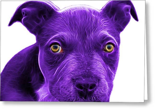 Purple Pitbull Puppy Pop Art - 7085 Wb Greeting Card by James Ahn