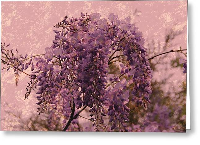 Purple Pleasures Greeting Card by Angie Tirado