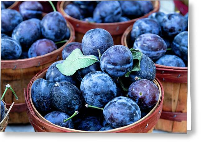 Purple Plums Greeting Card by Teri Virbickis