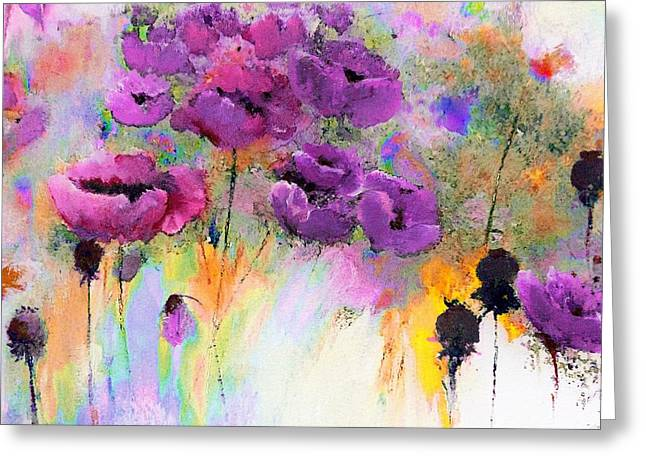 Purple Poppy Passion Painting Greeting Card