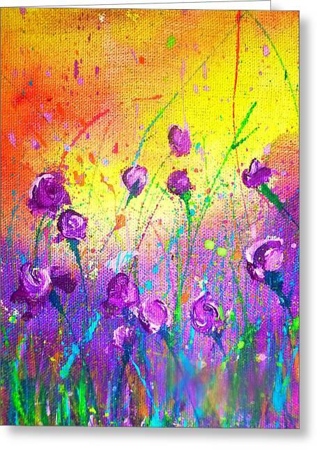 Purple Posies Greeting Card