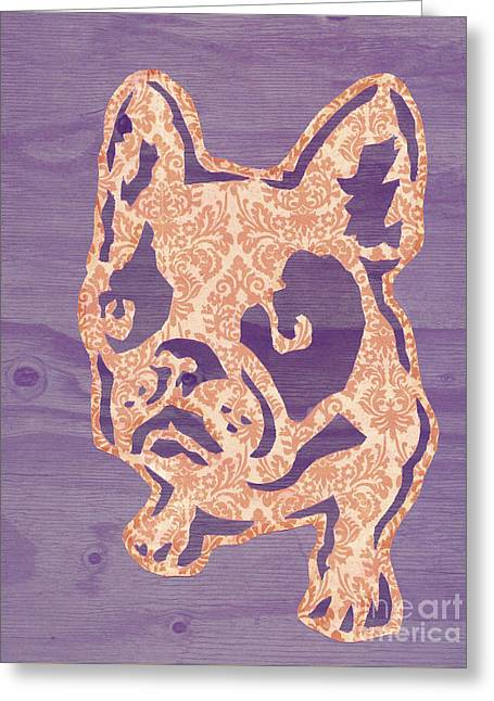 Purple Puppy Greeting Card by Barbara  Campbell