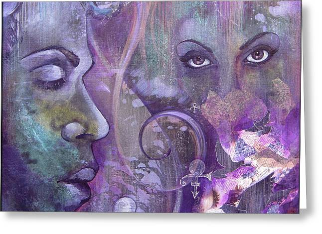 Purple Rain Greeting Card by Shadia Derbyshire