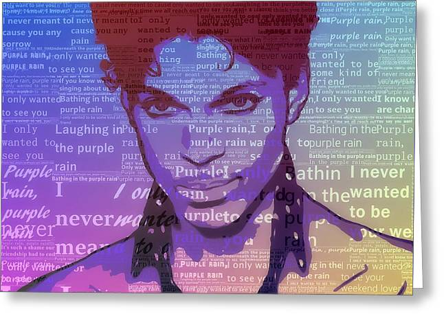 Purple Rain Typography Greeting Card by Dan Sproul