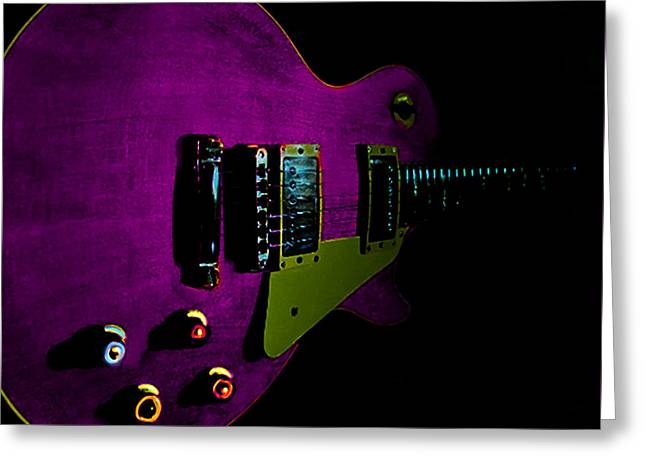 Purple Relic Les Paul II Hover Series Greeting Card