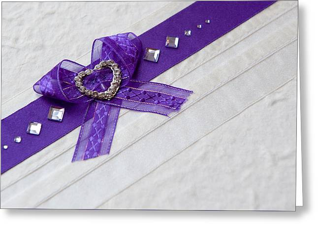 Purple Ribbon Heart Greeting Card