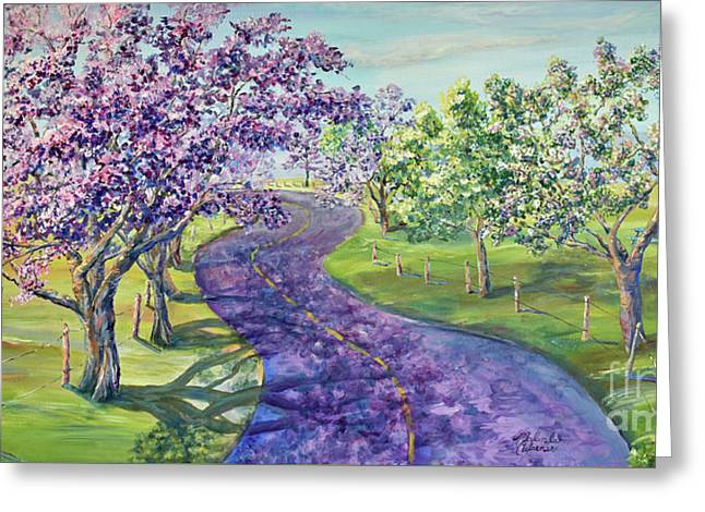 Purple Road - Springtime Greeting Card by Malanda Warner