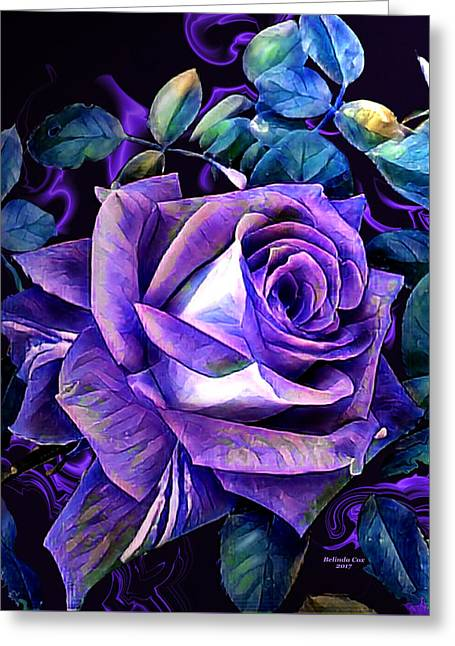Purple Rose Bud Painting Greeting Card