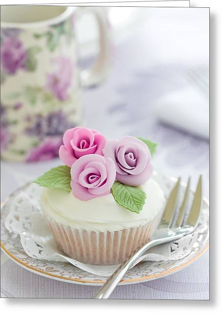 Purple Rose Cupcake Greeting Card