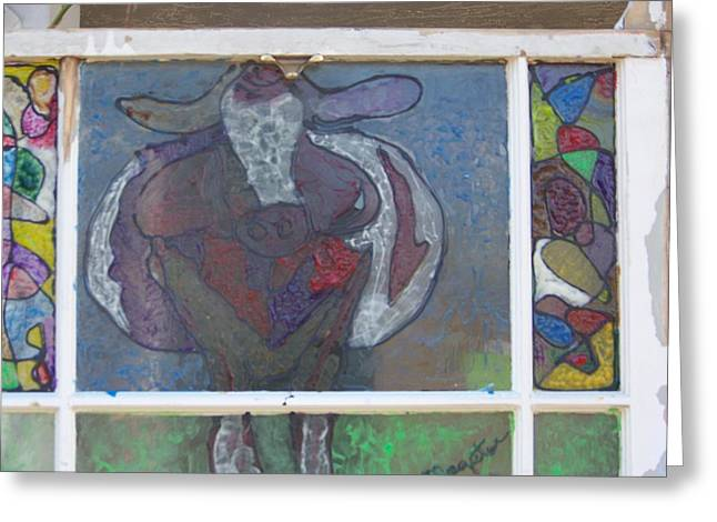 Purple Round Cow Greeting Card by Maggie Cruser