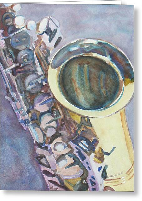Purple Sax Greeting Card by Jenny Armitage