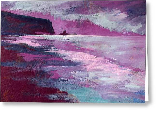 Purple Sea Greeting Card by Nancy Merkle