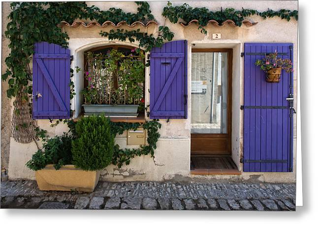 Purple Shutters Greeting Card