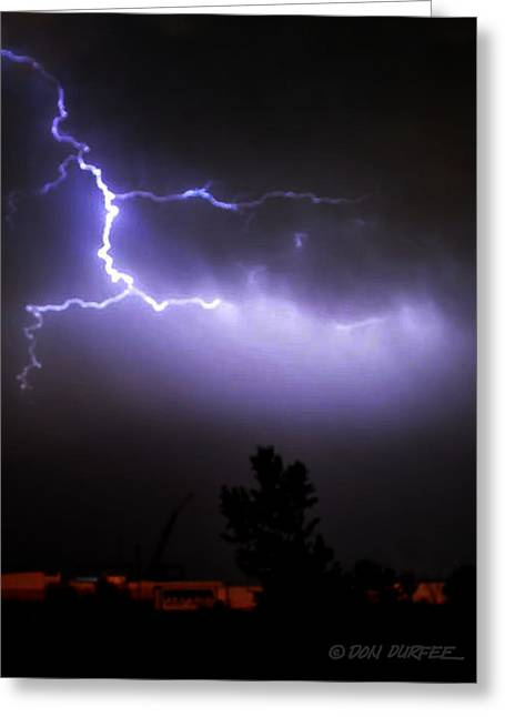 Greeting Card featuring the photograph Purple Sky Lightening by Don Durfee