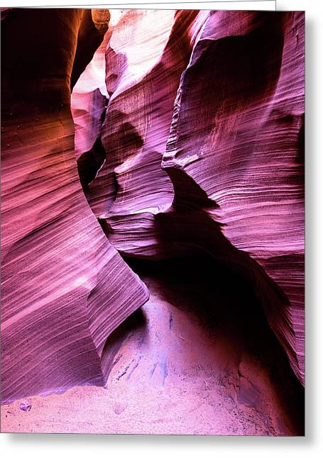 Greeting Card featuring the photograph Purple Slot Canyon - Tall by Stephen Holst