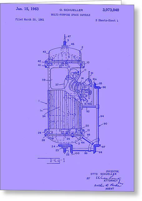 Purple Space Capsule Patent 1 Greeting Card by Arturo Granata