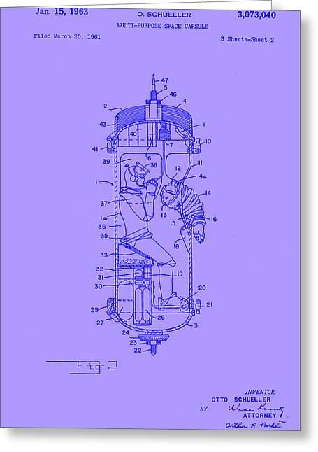 Purple Space Capsule Patent 2  Greeting Card by Arturo Granata