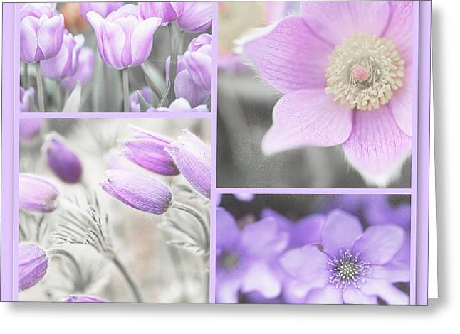 Greeting Card featuring the photograph Purple Spring Bloom Collage. Shabby Chic Collection by Jenny Rainbow