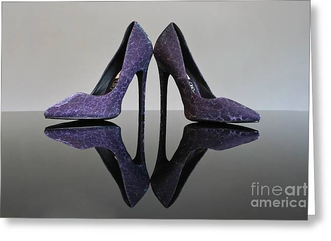 Purple Stiletto Shoes Greeting Card by Terri Waters