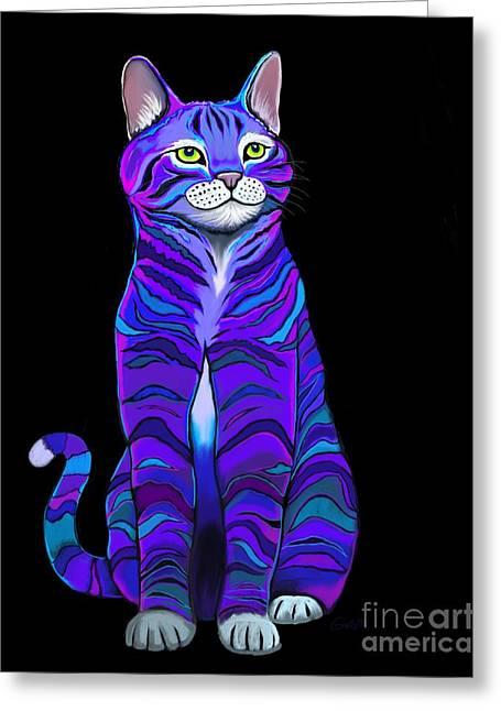 Purple Striped Cat Greeting Card by Nick Gustafson