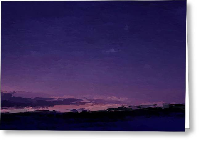 Purple Sunset Over Beach  Greeting Card
