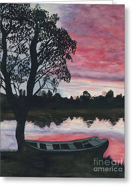 Purple Sunset With Boat Greeting Card by Patty Vicknair