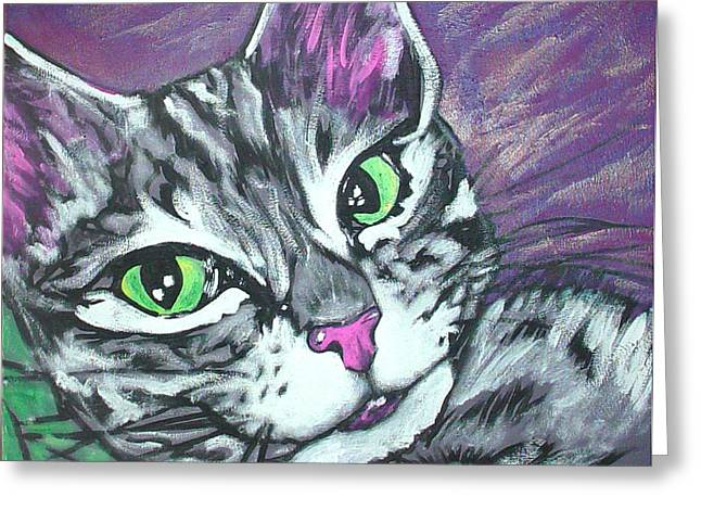 Purple Tabby Greeting Card