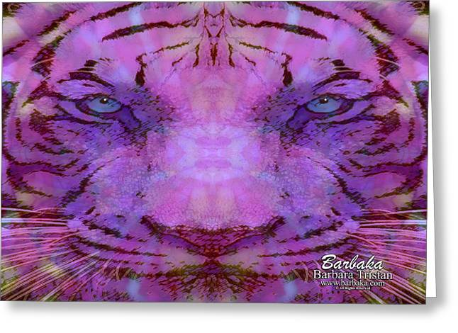 Greeting Card featuring the photograph Purple Tiger by Barbara Tristan
