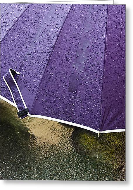 Purple Umbrella Greeting Card by Marion McCristall