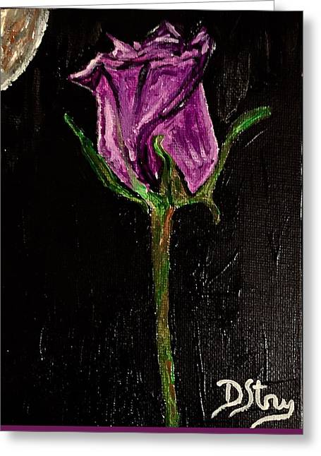 Purple Under The Moon's Glow Greeting Card