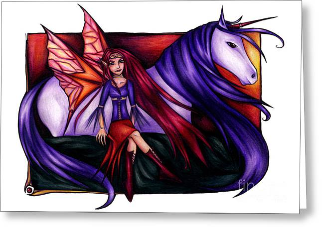 Purple Unicorn With Fairy Friend Greeting Card