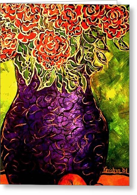 Purple Vase Greeting Card by Laura  Grisham