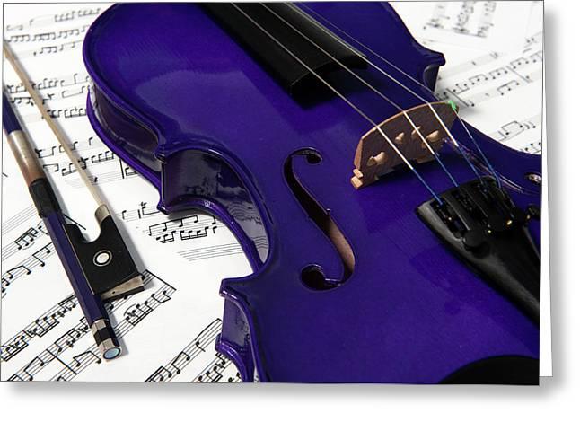 Purple Violin And Music V Greeting Card