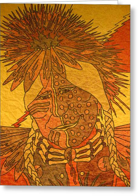 Americans Tapestries - Textiles Greeting Cards - Purple Warrior Greeting Card by Austen Brauker