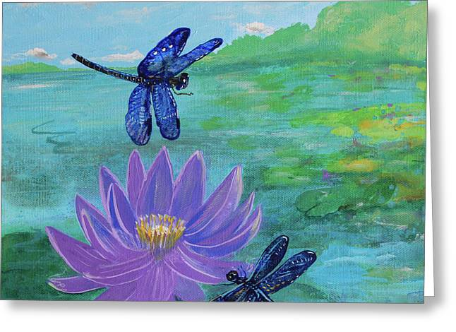 Purple Water Lily And Dragonflies Greeting Card