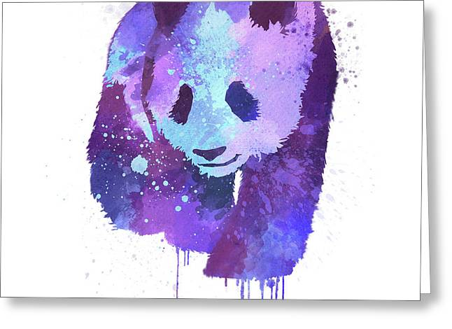Purple Watercolor Panda Greeting Card by Thubakabra