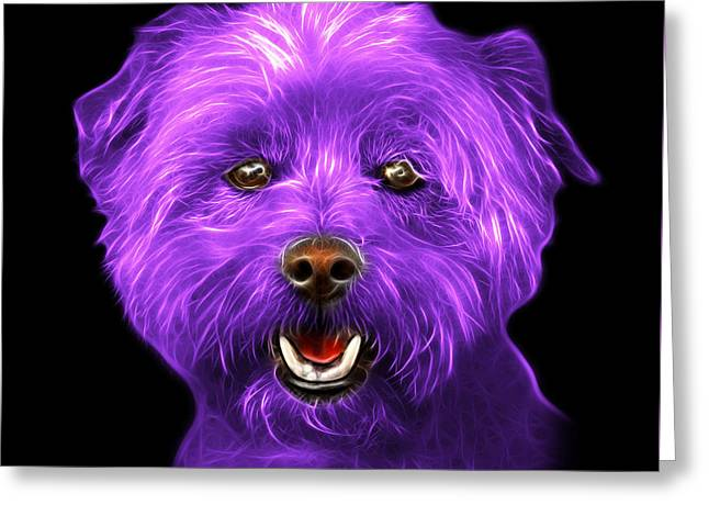 Purple West Highland Terrier Mix - 8674 - Bb Greeting Card