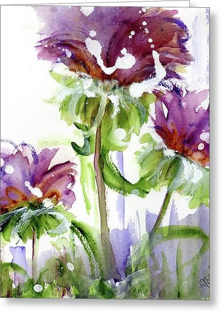 Greeting Card featuring the painting Purple Wildflowers by Dawn Derman