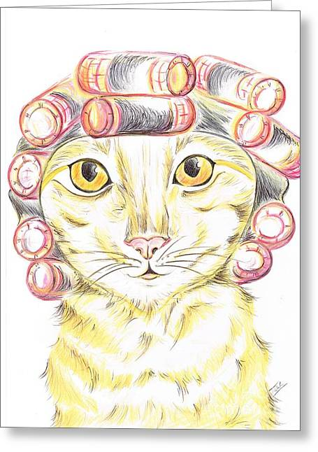 Purrfect   Pampering  Greeting Card by Teresa White