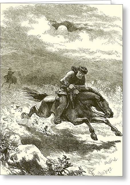 Pursuit Of Paul Revere Greeting Card by English School