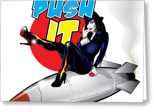 Push It Greeting Card by Brian Gibbs